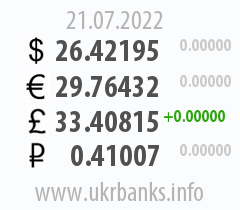 Exchange rates of the National Bank of Ukraine